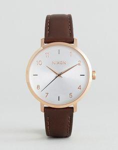 Nixon Arrow Rose Gold & Brown Leather Watch
