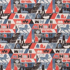 Lionheart by Ed Kluz is a 3 colour design screen printed in the UK onto a heavyweight oyster linen union   http://www.stjudesfabrics.co.uk