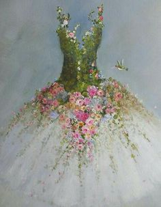 Roses Tutu painting RESERVED for Hilda original ooak ballerina fantasy fairy costume gown Hummingbirds - art projects - Natural Christmas Tree, Christmas Tree Dress, Christmas Tree Decorations, Christmas Crafts, Fairy Decorations, Arte Floral, Art Fantaisiste, Dress Painting, Floral Fashion