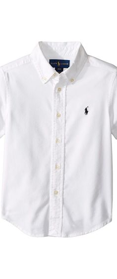 Polo Ralph Lauren Kids Performance Oxford Short Sleeve Button Down Shirt  (Toddler) (White