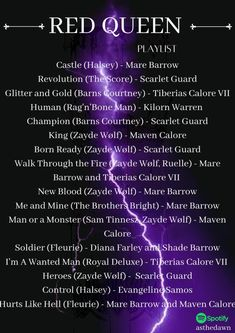Red Queen Characters, Book Characters, Red Queen Quotes, Red Queen Book Series, Paranormal Romance Books, Music Recommendations, Victoria Aveyard, Song Playlist, Book Fandoms