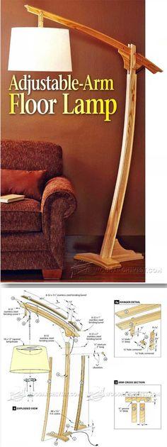 Wooden Floor Lamp - Woodworking Plans and Projects | WoodArchivist.com #WoodworkingProjectsDesk