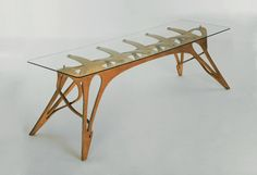Table of CNC work and glass.