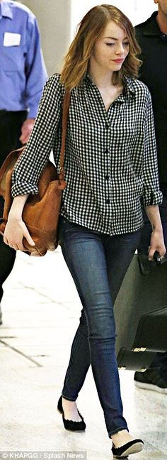 Emma Stone in black & white checkered blouse + jeans + flats