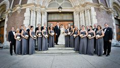 Romantic Wedding at the Palmer House Hilton, Chicago.  Bridesmaids wear various styles in Charcoal chiffon.