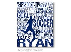 Soccer Typography Art Print, Perfect Boy's Room Art, You Choose the Colors, Makes a Great Gift for any Soccer Lover on Etsy, $10.00