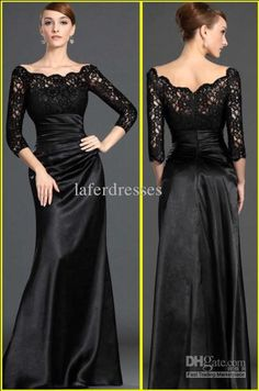 Wholesale 2013 New black custom made lace long sleeve formal evening dresses/bridal party gown prom dress, Free shipping, $50.4-54.43/Piece | DHgate