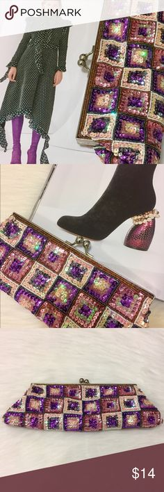 Purple, Pearl & Pink Sequin Clutch Gorgeous sequin clutch. Pink, Pearl/ivory and purple square-pattern. Brand new!! Bags Clutches & Wristlets