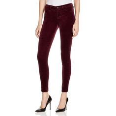 J Brand Mid Rise Skinny Velvet Jeans in Deep Mulberry ($228) ❤ liked on Polyvore featuring jeans, deep mulberry, highwaisted jeans, j-brand skinny jeans, checkered skinny jeans, velvet skinny jeans and skinny fit jeans
