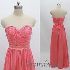 2015 watermelon long bridesmaid dress, prom dress