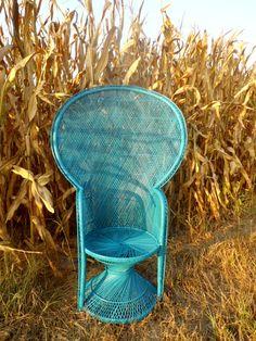 Repurposed peacock chair, chair has been repainted
