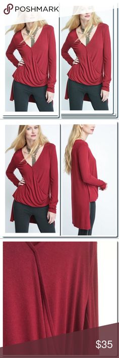 """NWOT Hi -Low Surplice Top Details Chic as it is soft, this exaggerated hi low top by Bobi brings new style to your collection. With its romantic color, surplice front, V-neckline, long sleeves, and soft knit shell, this top is going to be your new favorite staple piece.   Exaggerated hi low top Surplice front V-neckline Long sleeves Red Relaxed fit 70% rayon / 30% polyester Hand wash cold inside out, dry flat Measures approximately 25"""" from shoulder (front), 34"""" (back) Model shown wearing S…"""