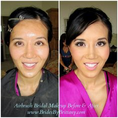 Gorgeous Bridal Airbrush Makeup Before & After by Brides By Brittany! Makeup Before And After, Airbrush Makeup, Fresh Face, Brittany, Brides, Hair Makeup, Wedding, Art, Clean Face