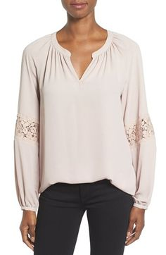 Free shipping and returns on Pleione Lace Sleeve Top at Nordstrom.com. Sleeve insets of embroidered lace add a perfect touch of romance to a flowy crepe top with billowy ease.