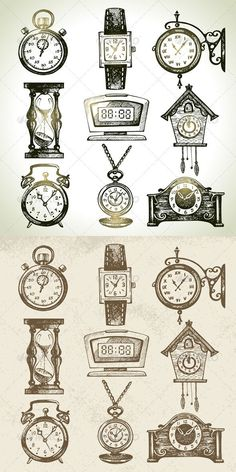 wrist watch, street clock, hourglass, digital clock,cuckoo clock . . .