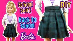 Back To School - How to Make Barbie Doll Uniform - School Skirt - DIY Ba...