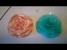 ''Tutorial'' Flor de Organza, Cetin, crepe Patu e Kiuy. soldada e modelada na vela. - YouTube