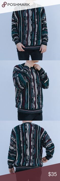 Coogi like pattern unisex sweater 🦋 ✨ BUY ONE GET ONE DISCOUNTED ✨  Vintage 90s coogi looking like pattern in a teal, purple, red, & white color way. Amazing vintage condition with no holes or discoloration. Perfect fit to layer or just wear over a t shirt! 🐢  📦 Fast shipper: same day or next day! 👥 Unisex: most clothes will work with both genders! 💸 Bundled discounts!  📲 Instagram: @0nenightsworth Vintage Sweaters Crewneck