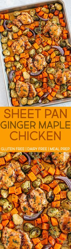 This Sheet Pan Ginger Maple Chicken with Brussels Sprouts & Butternut Squash makes the perfect weeknight dinner that's healthy, delicious and easily made all on one pan in under 30 minutes! Clean Eating Recipes, Healthy Eating, Cooking Recipes, Healthy Recipes, Skinny Recipes, Ww Recipes, Healthy Cooking, Chicken Brussel Sprouts, Brussels Sprouts
