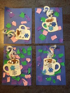 Winter Crafts For Kids Winter Art Projects, Winter Crafts For Kids, Winter Fun, Winter Theme, Winter Ideas, Kindergarten Art Activities, Craft Activities, In Kindergarten, Preschool Crafts