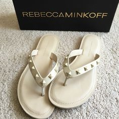 Rebecca Minkoff Nude studded flip flops Rebecca Minkoff Nude studded flip flops. Size 7-1/2. Excellent condition- only worn once for a total of an hour. NO TRADES Rebecca Minkoff Shoes Sandals