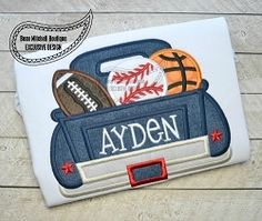Football, Baseball and Basketball Truck Applique - 3 Sizes! | What's New | Machine Embroidery Designs | SWAKembroidery.com Beau Mitchell Boutique