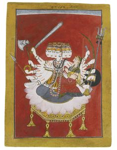 The god Siva seated with his consort Parvati on a lotus throne, attributable to the Master of the Court of Mankot or an associate, Mankot, circa 1710-20