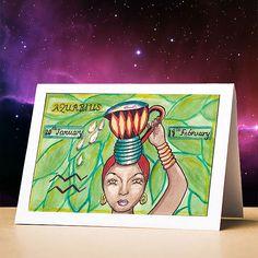 Aquarius birthday card aquarius star sign zodiac astrology birthday card aquarius stationery gift s 12 Zodiac, Astrology Zodiac, Birthday Greeting Cards, Birthday Greetings, Aquarius Birthday, Aquarius Horoscope, Zodiac Star Signs, Sun Sign, Stationery