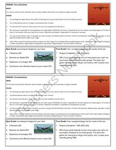 STEM Lab Science Experiment - paper airplane accuracy lab from Velerion-Damarke from Velerion-Damarke on TeachersNotebook.com (1 page)  - Challenge your students to design two different airplanes. Both have to land precisely in or on a target. One is for short distance flights to a small target, while the other is for longer distance flights to a bigger target.  This page is a printable rub