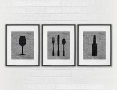 Modern Dining Room Art Prints - Black & White Beer, Wine, Fork, Knife, Spoon - Set of 3 Dining Room / Kitchen Wall Decor Digital Prints