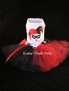 April 2016 Embroidery Dog Dress _ Harley Quinn Dog Tutu Dress_ XS _ 2016 - PLEASE follow me on: Facebook, Etsy, Instagram & Pinterest @ Kim's Posh Pets