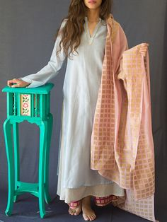 Light Blue Chanderi Kurta with Grey Cotton Lining