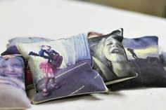 DIY Photo Throw Pillows via lilblueboo.com -- cute gift idea for grandparents and other family!