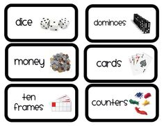 labels to help organize math tubs, monthly themed resources, and more
