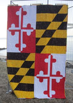 My fellow #quilting friend, Heidi @Heidi Hendrix made this beauty! Maryland State Flag Quilt  twin size by SewCreativebyHeidi on Etsy, $425.00