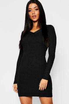 Womens Skinny Rib V Front & Back Dress - black - M Beautiful Casual Dresses, Pop Fashion, Fashion Trends, Sequin Sweater, Polo Neck, Dress Backs, Dress Collection, Night Out, Knitwear