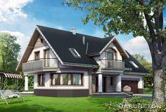 Projekt domu Heliotrop - reprezentacyjny dom z garażem dwustanowiskowym, z balkonem nad wejściem wspartym kolumnami