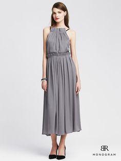 BR Monogram Pleated Gray Halter Dress