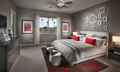 This master suite from Lennar Arizona is accented with red, how would you like it to be where you lay down your head?
