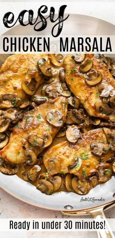 This easy chicken marsala recipe is an Italian-American restaurant favorite thats simple to make at home from scratch. Fried Chicken Breast, Chicken Breasts, Recipe With Cooked Chicken Breast, Chicken Back Recipe, Easy Chicken Recipes, Keto Chicken, Baked Chicken, Easy Chicken Dishes, Asiago Chicken