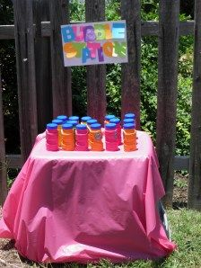 Bubble Station at MP's Chicka Chicka Boom Boom Birthday Party- cheap party entertainment!