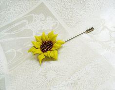 Sunflower lapel pin Sunflower brooch pin от SummerInYourHome