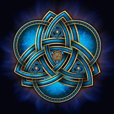 Stunning and unique doubled Celtic triquetra knotwork in sea blue and gold with triple rings on a flared blue light and black background. Celtic Triquetra, Celtic Art, Celtic Knots, Celtic Mandala, Celtic Dragon, Irish Celtic Symbols, Celtic Crosses, Mayan Symbols, Viking Symbols