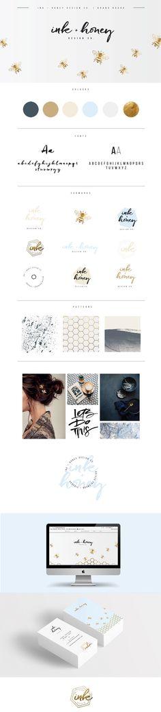 Ink + Honey Design Co. Self Branding Web Design, Blog Design, Logo Design Inspiration, Creative Design, Self Branding, Branding Design, Honey Packaging, Brand Style Guide, Brand Board