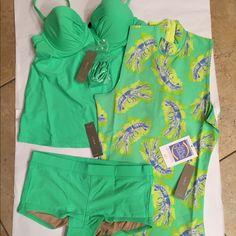 J. Crew net bikini bundle size 0/XXXS NWT bundle includes tankini top size 0 A leeches rash guard size XXXS and a Oates if boy shorts, hygiene guard in place  size XXXS Retail tags attached no flaws Each piece are priced at $50+ in store J. Crew Swim Bikinis