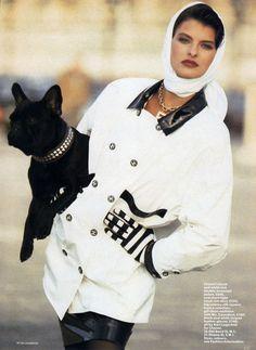 "Vogue UK March 1987 ""Star Raincoats"" Model: Linda Evangelista Photographer: Peter Lindbergh Hair: Donald Makeup: Stéphane Marais"