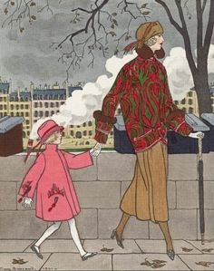 """You're walking too fast, Mama,"" 1921. Tailleur and little girl dress by Jeanne Lanvin."