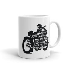Motorcycle - Love is the feeling you get when you like something as much as your motorcycle - Cafe Racer - Vintage bikes - Quote Coffee Mug