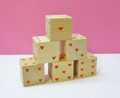 Eco Friendly Wooden Heart Dice Valentines Day by 2HeartsDesire Made By Us In The U.S.A. Please Share