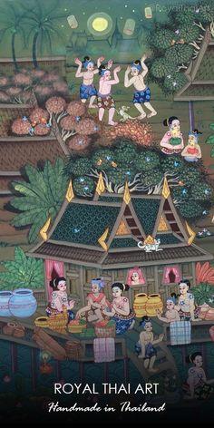 Folk Art Oriental Canvas Paintings from Thailand l Thai art for sale online Floating Lantern Festival, Art For Sale Online, Thai Art, Mural Art, Custom Canvas, Art Studios, Folk Art, Illustration Art, Drawings